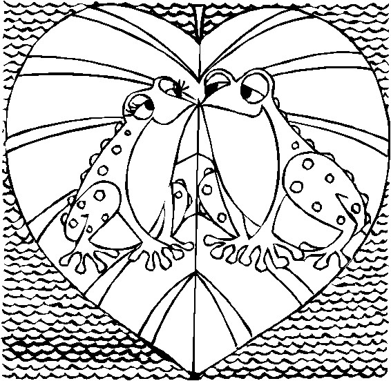 Frogs Kissing in Shape of Valentine Coloring Page