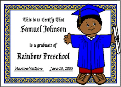 Image of Playtime Graduation Certificate