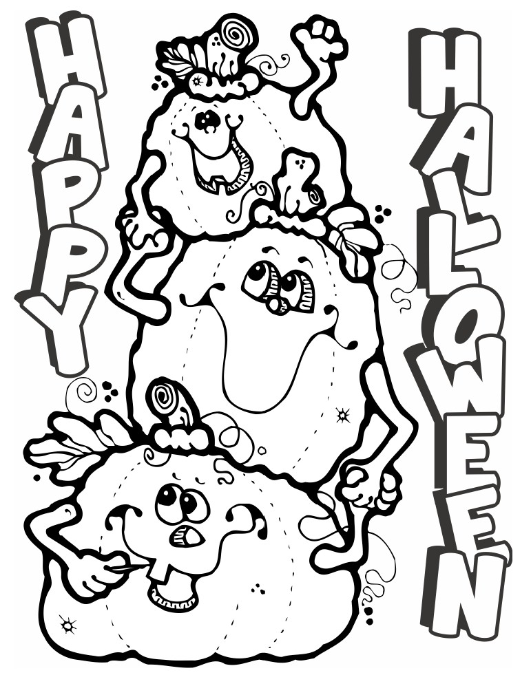 Halloween pumpkins coloring page for Halloween printable color pages
