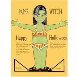 Image of Halloween Witch Paper Doll