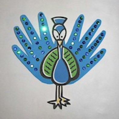 peacock craft ideas for kids handprint peacock 7033