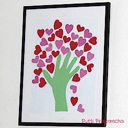 Handprint heart tree for Heart shaped bulletin board