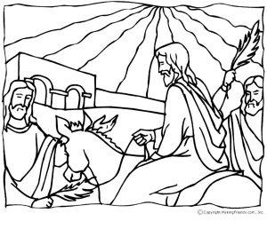 Kleurplaat Glas In Lood Kerst Jesus Palm Sunday Coloring Page