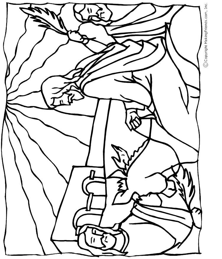 Jesus palm sunday coloring page free kids crafts for Free palm sunday coloring pages