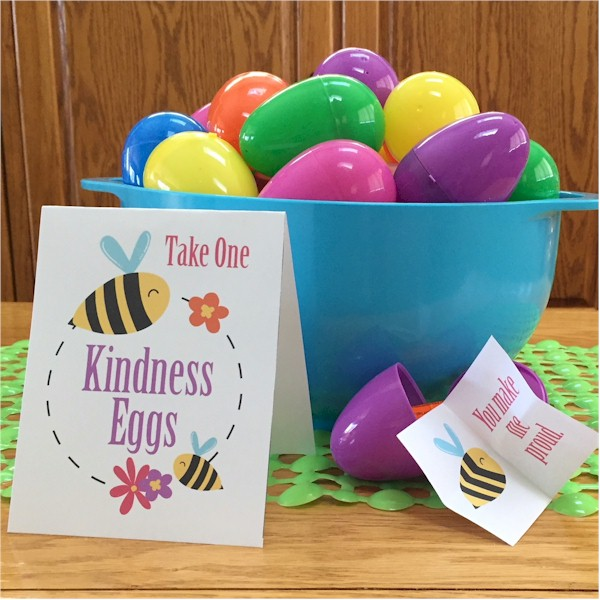 Plastic Easter Eggs filled with Printable Inspirational messages.