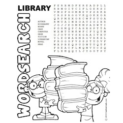 Printable Library Word Search Puzzle for Kids