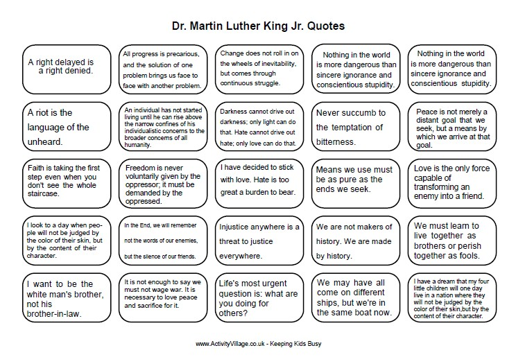 Martin Luther King Word Search Printable   New Calendar Template Site