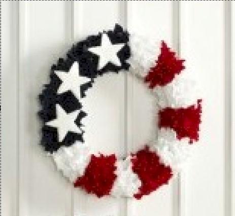 Image of Patriotic Tissue Paper Wreath