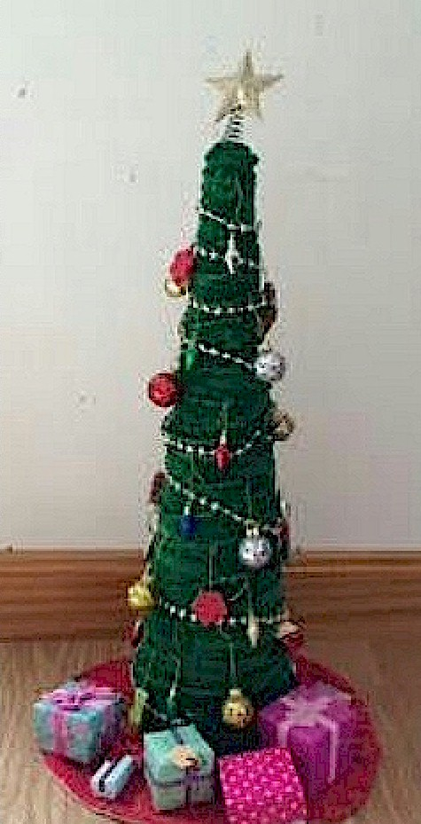 Image of Cotton Ball Christmas Tree