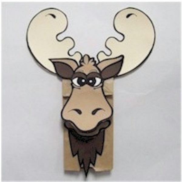 Moose Paper Bag Puppet