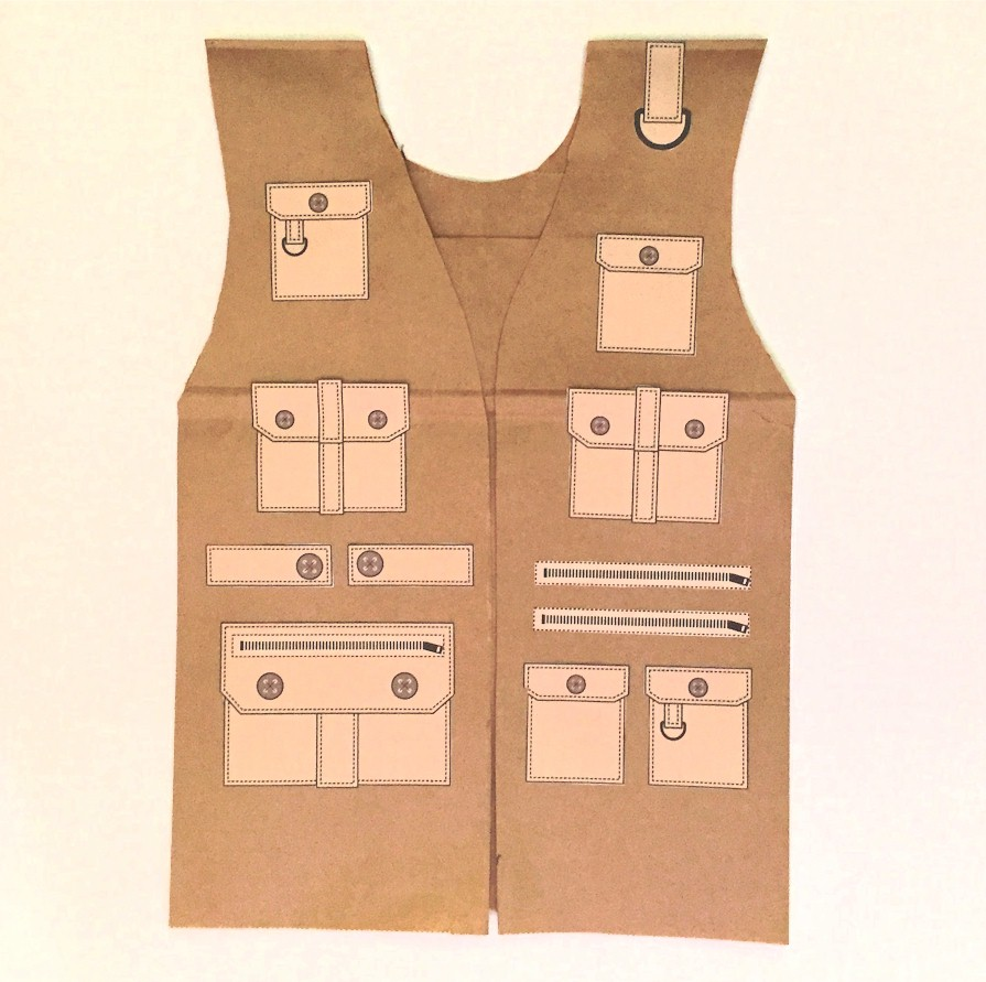 Paper bag safari vest for Vest top template