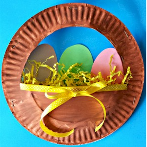Easter Eggs In A Paper Plate Basket