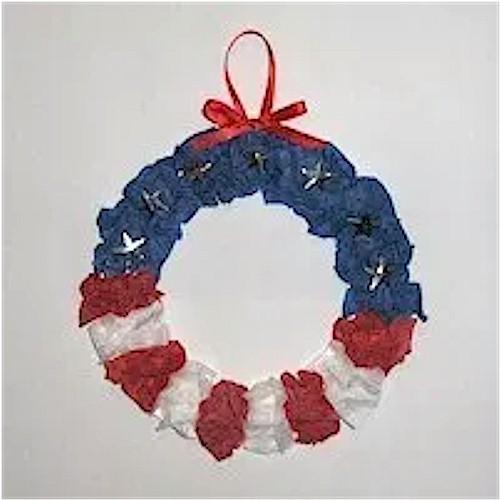 Patriotic Tissue Paper Wreath