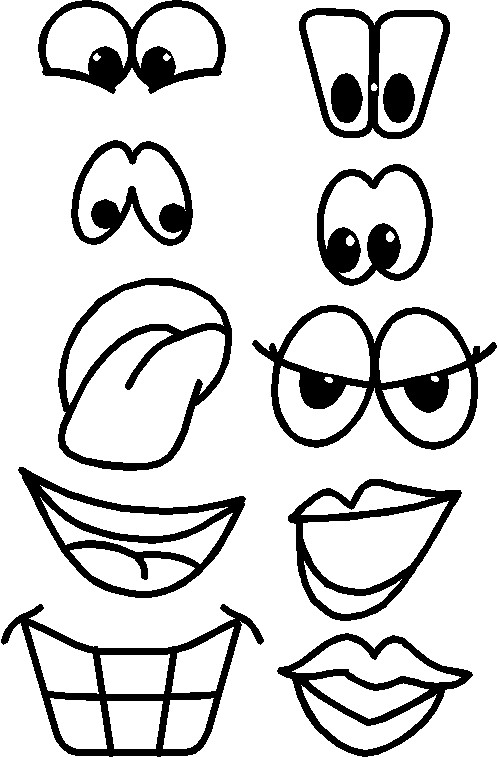 Printable fruit faces for Mouth template for preschool