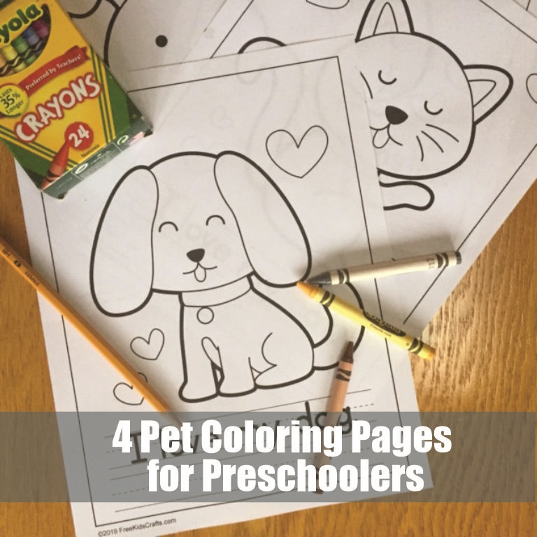 Four Coloring Pages of favorite pets