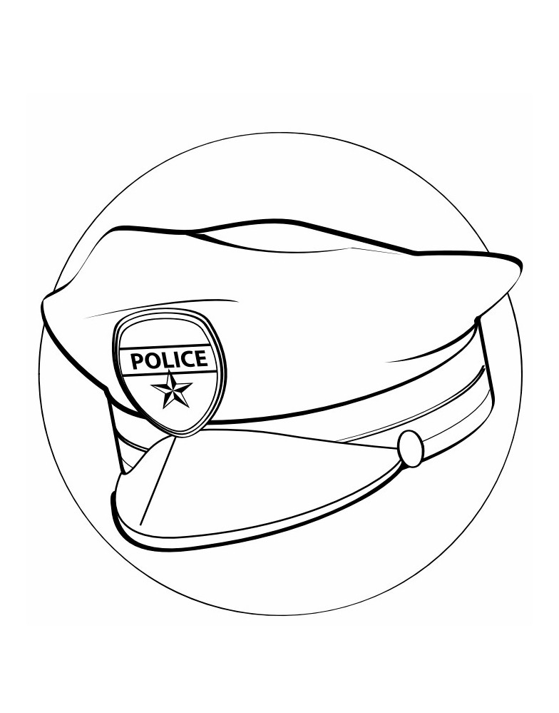 Labor Day Police Hat Coloring Page