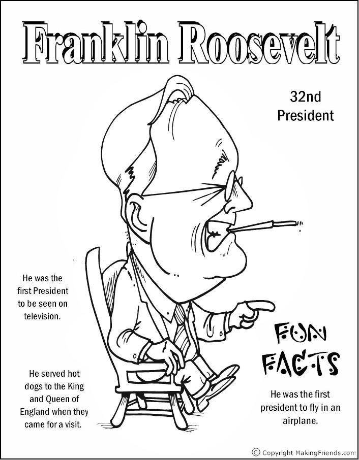 president-franklin-roosevelt-coloring-page - Free Kids Crafts
