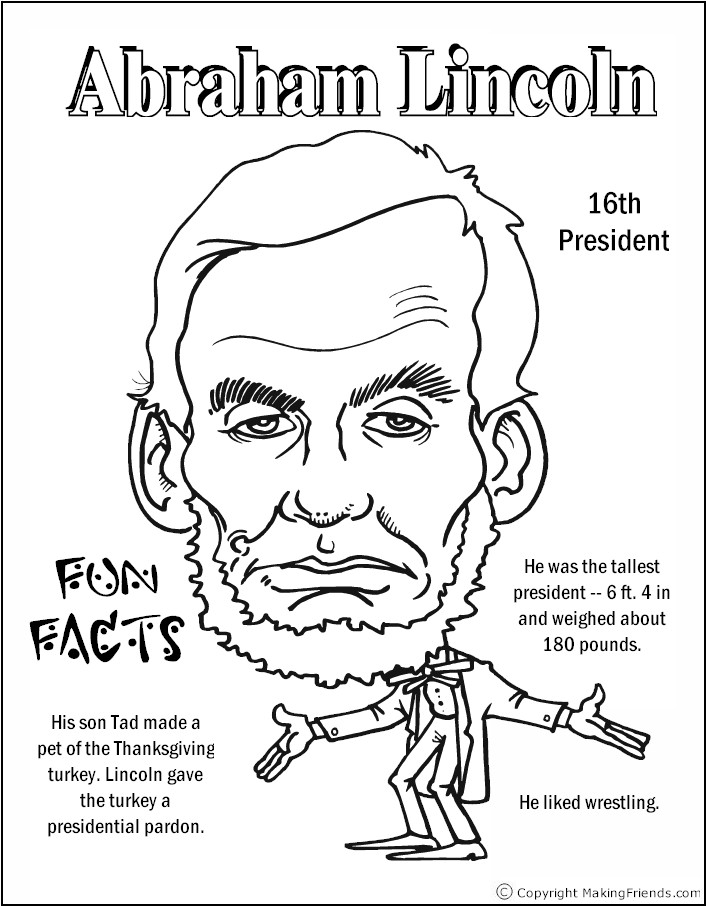 free presidents coloring pages | president-lincoln-coloring-page - Free Kids Crafts