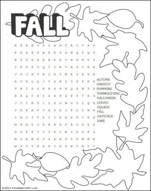 Image of Printable Fall Word Search Puzzle