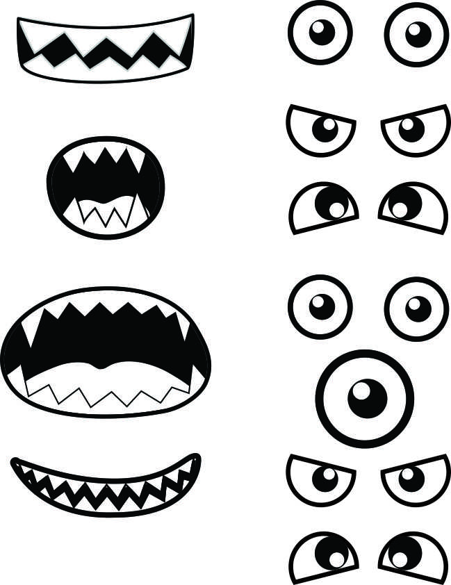 Monster eyes and mouths pictures to pin on pinterest for Templat monster