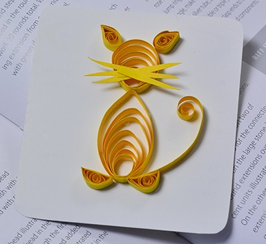 this quilled cat is a good introduction to quilling as