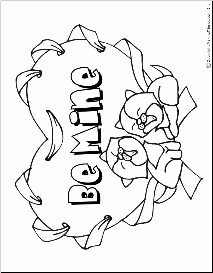 Valentine Coloring Page with Kittens