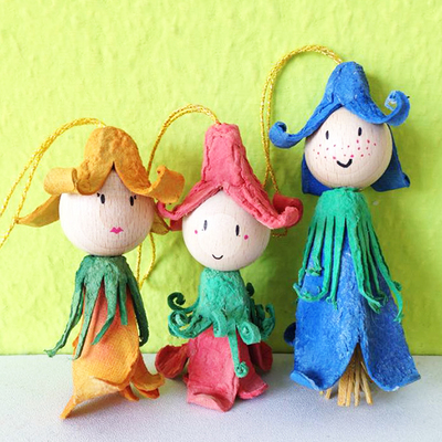 Recycled Egg Carton Flower Fairies