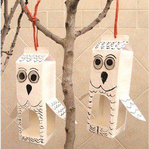 Recycled milk cartons turned into Owl Bird Feeders