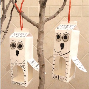 Recycled Milk Carton Owl Bird Feeder