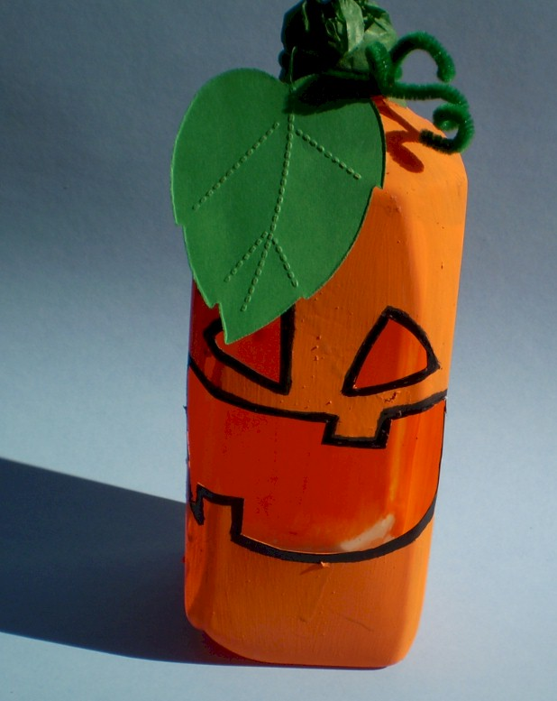 Recycled Milk Jug Pumpkin Candy Holder