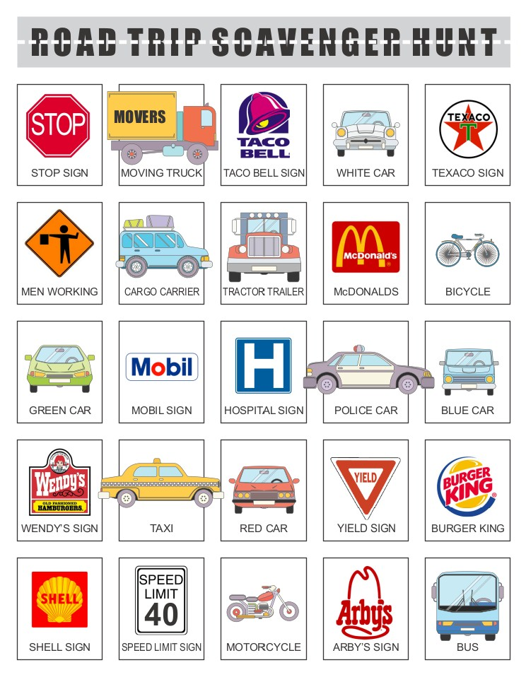 Printable Road Trip Scavenger Hunt