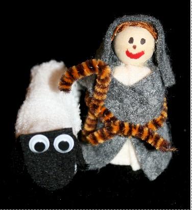 Rolled Gauze Sheep and Shepherd