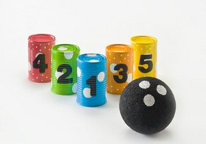 Image of Recycled Soup Can Bowling Game