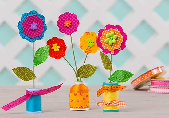 Flowers with Spool Holders