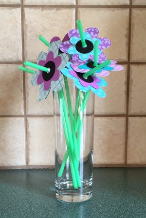 Easy to make flowers on a straw stem.