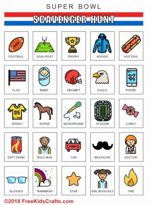 Image of Printable Super Bowl Scavenger Hunt