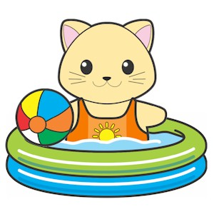 Image of Printable Swimming Pool For Buddies Paper Dolls