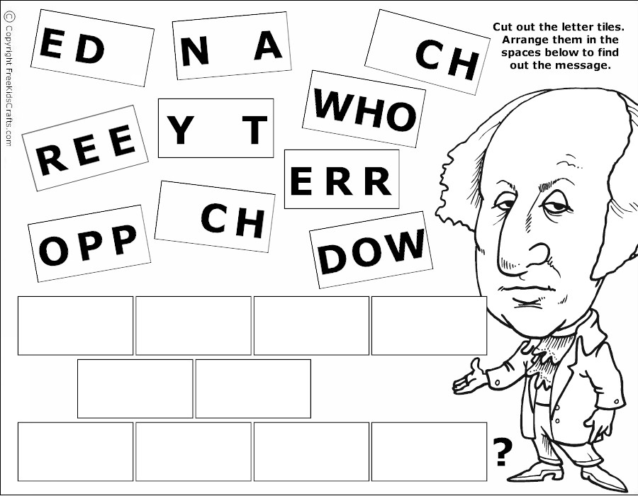 Printable President\'s Day Word Puzzles
