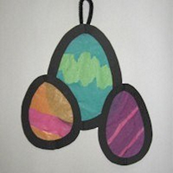 Easy to Tissue Paper Easter Eggs for Kids to Make