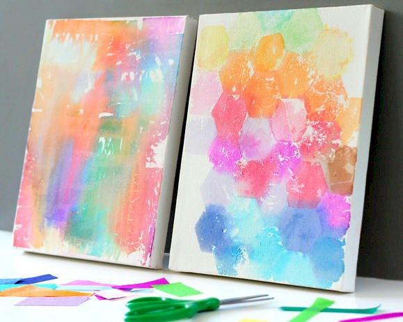 Tissue paper painting craft for Newspaper canvas art