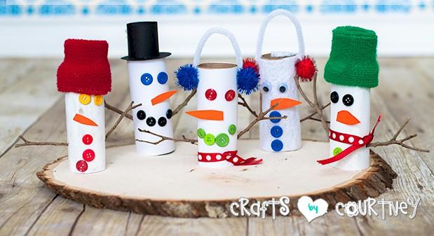 Cardboard Tube Snowmen