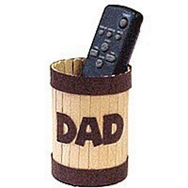 Make Dad a TV Remote Control Holder from a recycled can and craft sticks