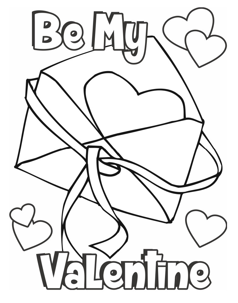 valentine in an envelope coloring page - Valentine Coloring Sheet