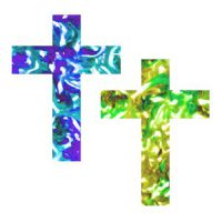 Image of Melted Crayon Stained Glass Window Cross Suncatcher