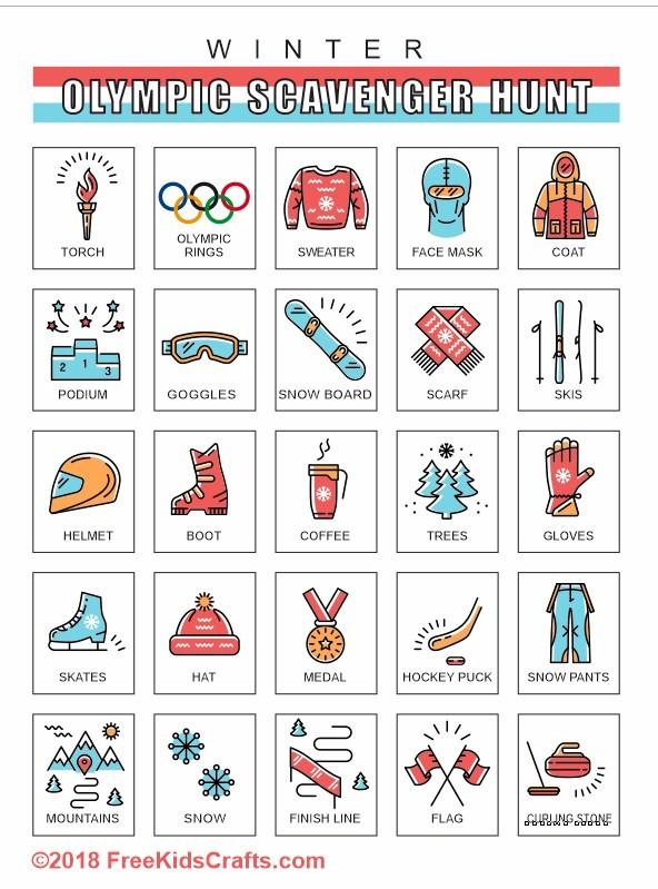 Winter Olympic Scavenger Hunt Printable