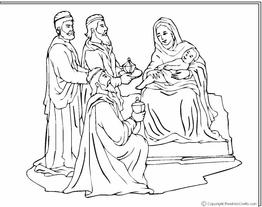 Wisemen at the nativity coloring page for Wisemen coloring pages