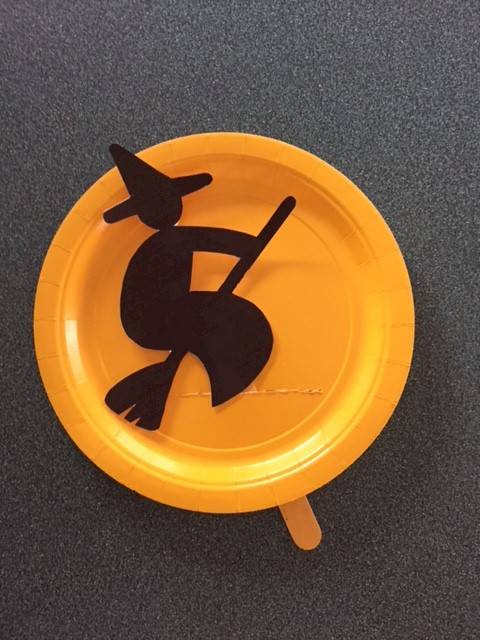 Image of Paper Plate Halloween Witch Puppet