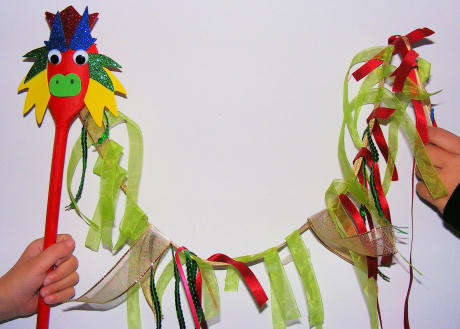 Image of Wooden Spoon Dragon Puppet