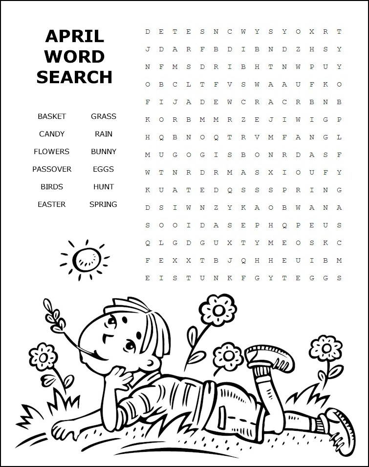 April word search for Gardening tools word search