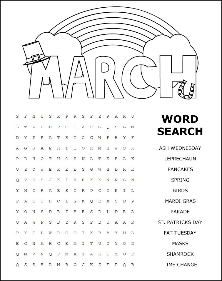 Printable March Word Search – Printable Word Search Worksheets